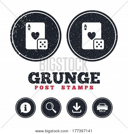 Grunge post stamps. Casino sign icon. Playing card with dice symbol. Information, download and printer signs. Aged texture web buttons. Vector