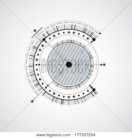 Vector engineering technological background futuristic technical plan black and white mechanism. Mechanical scheme abstract industrial design can be used as website background.