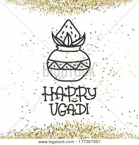 Happy Ugadi. The Hindu new year. Greeting card Template for holiday. pot with coconut. Vector illustration