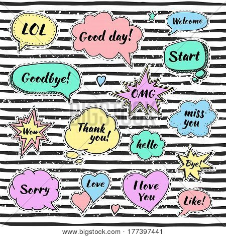 Hand drawn set of speech bubbles with dialog words: Hello Love Sorry Welcome Bye. Vector illustration for srickers.