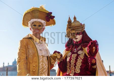 Disguised Couple At The Carnival Of Venice