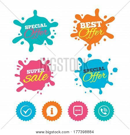 Best offer and sale splash banners. Check or Tick icon. Phone call and Information signs. Support communication chat bubble symbol. Web shopping labels. Vector