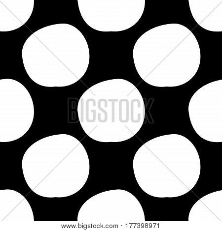 Abstract spot pattern with hand drawn ink spots. Cute vector black and white spot pattern. Seamless monochrome doodle spot pattern for fabric, wallpapers, wrapping paper, cards and web backgrounds.