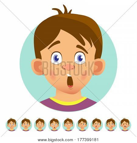 Set of human emotions. Facial expression. Set of emoticons. Flat vector illustration. Surprised