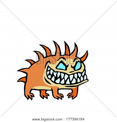 small infernal orange dog. cute monster. vector illustration