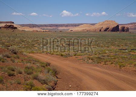 A dirt road in the Utah desert