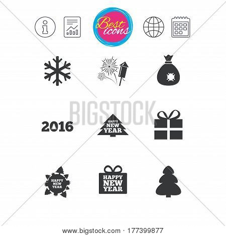 Information, report and calendar signs. Christmas, new year icons. Gift box, fireworks and snowflake signs. Santa bag, salut and rocket symbols. Classic simple flat web icons. Vector