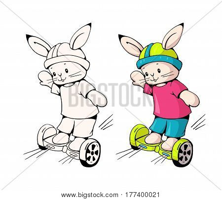 Hand-drawn illustration of funny cartoon Bunny on gyrometer. Monochrome and color version. Vector