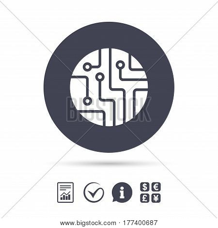 Circuit board sign icon. Technology scheme circle symbol. Report document, information and check tick icons. Currency exchange. Vector
