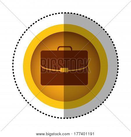 yellow round symbol business suitcase icon image, vector illustration design