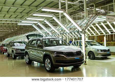 Solomonovo Ukraine - March 9 2017. Cars of the Škoda series in the workshop of the Transcarpathian plant of the Czech automaker from Škoda.