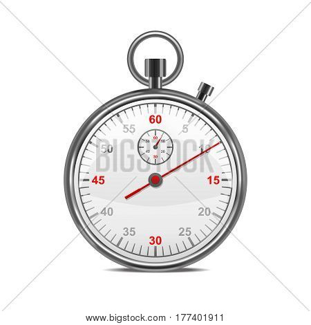 Realistic Classic Metal Stopwatch Symbol Sports Competition Equipment for Measurement. Vector illustration