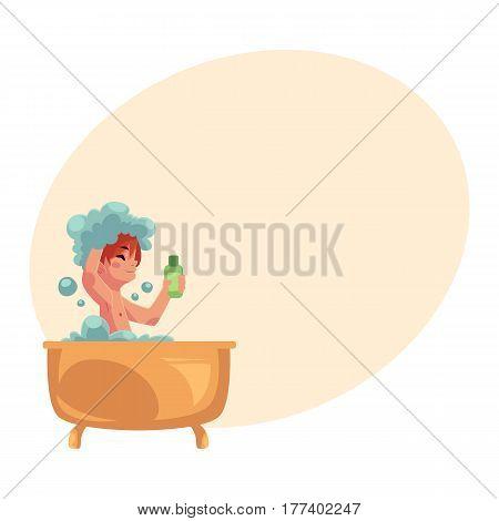 Little boy, child taking bath, sitting in bathtub, washing hair with shampoo, hygiene concept, cartoon vector illustration with place for text. Boy washing in foamy bathtub, taking bath