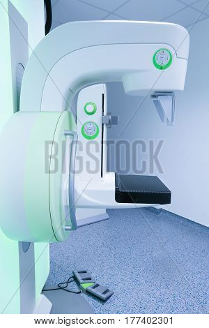 Mammography breast screening device in hospital laboratory. Health care medical technology hi-tech equipment concept.
