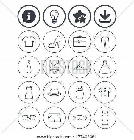 Information, light bulb and download signs. Clothes and accessories icons. Shirt with tie, pants and woman dress symbols. Hat, hanger and glasses thin outline signs. Underwear and maternity clothes