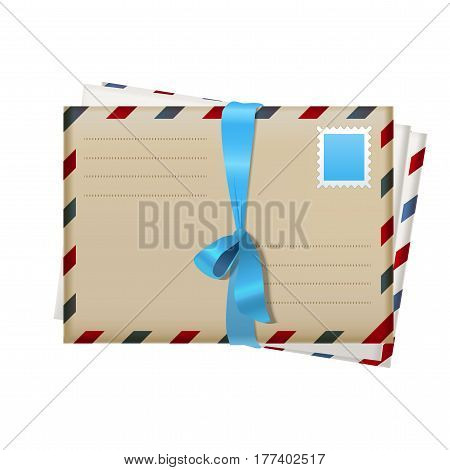 Realistic Mail Envelopes with Blue Ribbon and Postal Mark Vintage Design Style. Vector illustration
