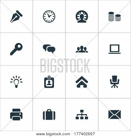 Vector Illustration Set Of Simple Business Icons. Elements Nib, Password, House Location And Other Synonyms Identity, Office And Mind.