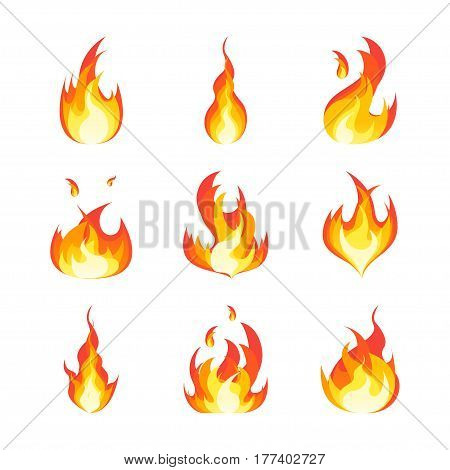 Cartoon Fire Flames Set Light Effect for Web, Game Design Flat Style. Vector illustration