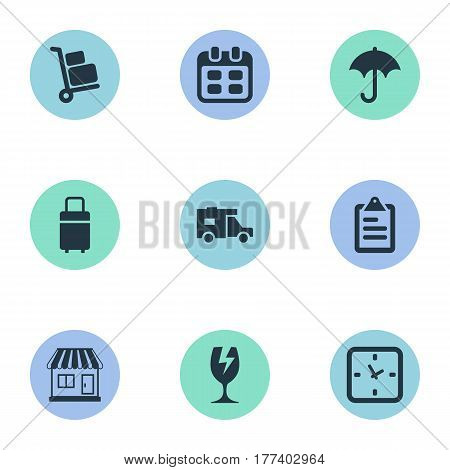 Vector Illustration Set Of Simple Delivery Icons. Elements Mall, Caravan, Gingham And Other Synonyms Mall, Calendar And Transportation.
