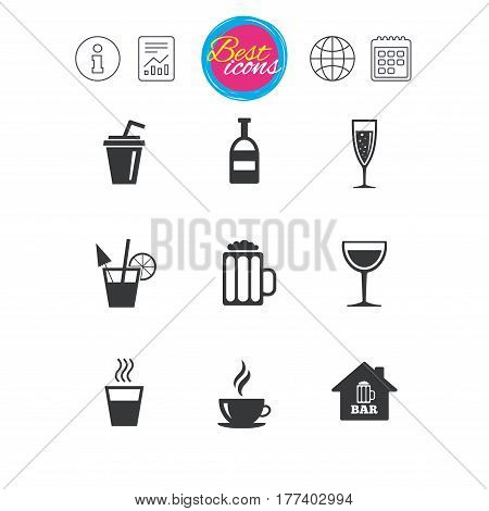 Information, report and calendar signs. Coffee, tea icons. Beer, wine and cocktail signs. Soft and alcohol drinks symbols. Classic simple flat web icons. Vector