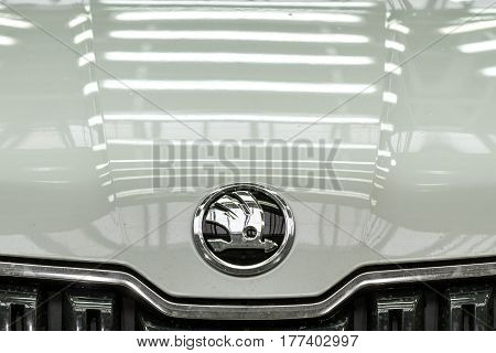 Solomonovo Ukraine - March 9 2017. Škoda logo on the hood of the new Kodiaq car for a test drive in the workshop of the Transcarpathian plant of the Czech automaker from Škoda.