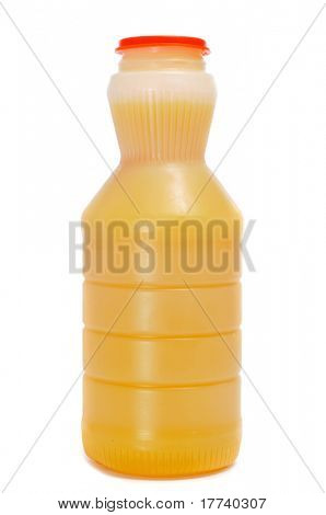 a bottle of orange juice on a white background