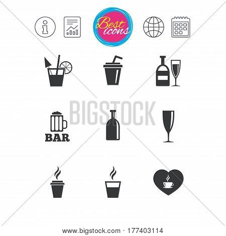 Information, report and calendar signs. Beer, coffee and tea icons. Beer, wine and cocktail signs. Soft and alcohol drinks symbols. Classic simple flat web icons. Vector