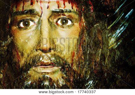 closeup of a figure of Jesus Christ poster