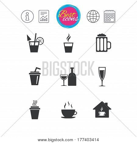 Information, report and calendar signs. Tea, coffee and beer icons. Beer, wine and cocktail signs. Take away drinks. Classic simple flat web icons. Vector