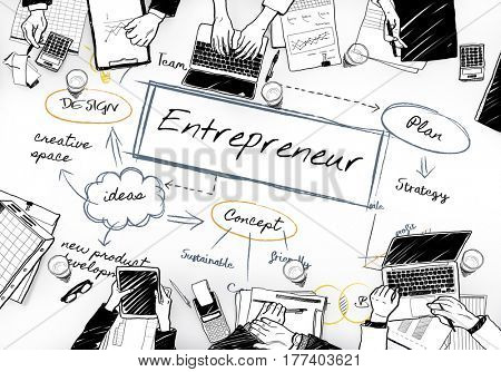 Entrepreneur word in the middle of people in a meeting cartoon poster
