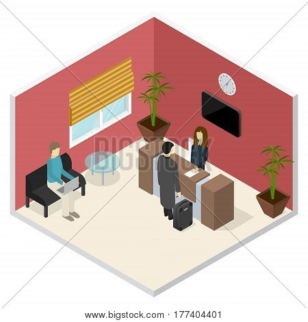 Interior Office or Hotel Reception Isometric View Welcome and Information Service Concept. Vector illustration