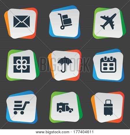 Vector Illustration Set Of Simple Conveyance Icons. Elements Gift, Day, Airline And Other Synonyms Envelope, Calendar And Date.