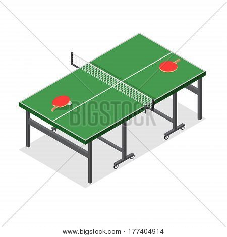 Green Wooden Table Tennis Game Isometric View Equipment for Ping Pong Competition. Vector illustration