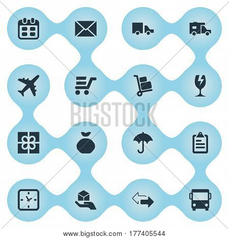 Vector Illustration Set Of Simple Delivery Icons. Elements Van , Hand , Caravan Synonyms Glass, Trolley And Opposite.
