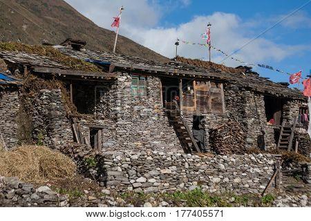 Remote Village In High Himalalya Mountains