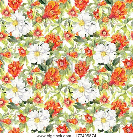 Pomegranate blossom and white camelia flowers. Seamless floral pattern. Watercolor