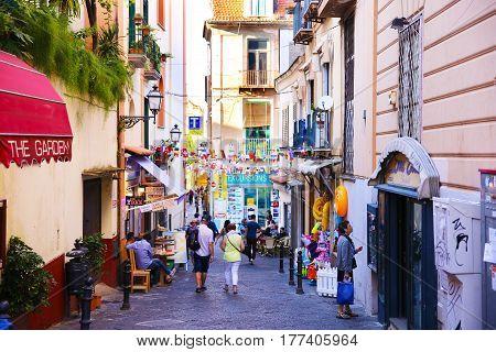 SORRENTO, ITALY - OCTOBER 9, 2016: street view in Sorrento, Italy