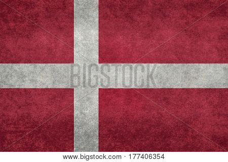 Danish national flag with grungy distressed textures