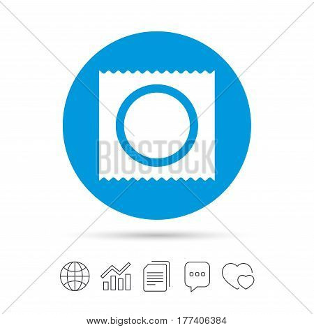 Condom in package safe sex sign icon. Safe love symbol. Copy files, chat speech bubble and chart web icons. Vector