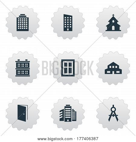 Vector Illustration Set Of Simple Construction Icons. Elements Engineer Tool, Residential, Superstructure And Other Synonyms Religious, Residential And Scale.