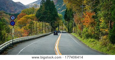 Mountain Road With Forest In Nikko, Japan