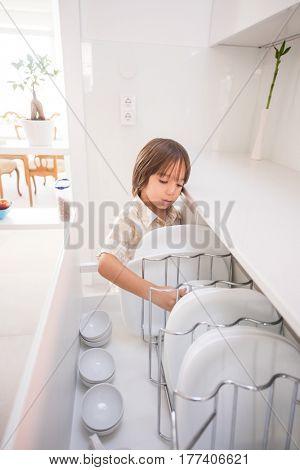 Children inside interior of modern home