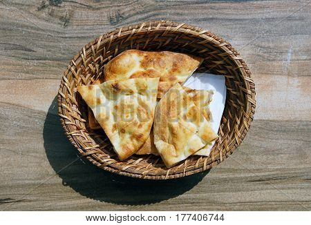 turkish bread basket on the wooden table