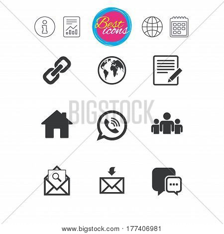 Information, report and calendar signs. Communication icons. Contact, mail signs. E-mail, call phone and group symbols. Classic simple flat web icons. Vector