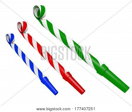 Colorful striped party blower whistles for making annoying noises, 3D rendering