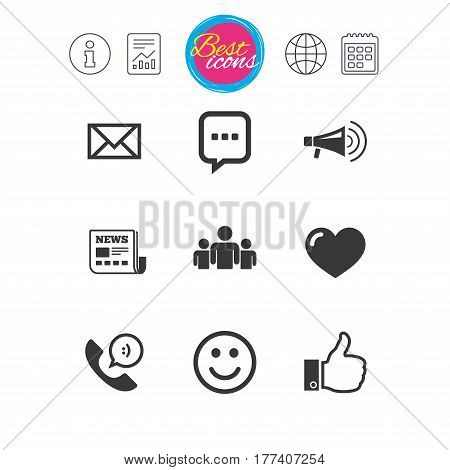 Information, report and calendar signs. Mail, news icons. Conference, like and group signs. E-mail, chat message and phone call symbols. Classic simple flat web icons. Vector