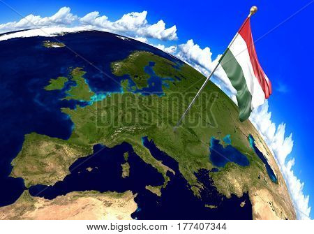 Hungary national flag marking the country location on world map. 3D rendering, parts of this image furnished by NASA