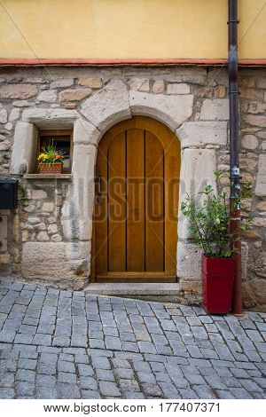 Old Vintage Cobblestone Alley Street Door Entrance Wooden Design Colors Italy Flowers Tiny House Cut