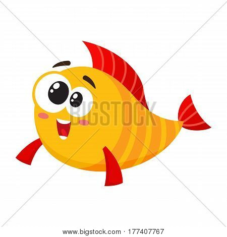 Cute, funny golden, yellow fish character with smiling happy, human face, cartoon vector illustration isolated on white background. Crazy yellow fish character, mascot, happy and excited