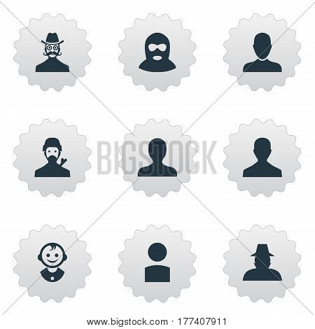 Vector Illustration Set Of Simple Avatar Icons. Elements Male User, Mysterious Man, Job Man And Other Synonyms Boy, Personal And Felon.